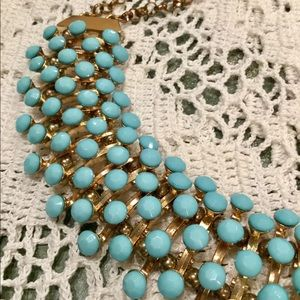 Vintage Bold Turquoise Glass & Brass Necklace